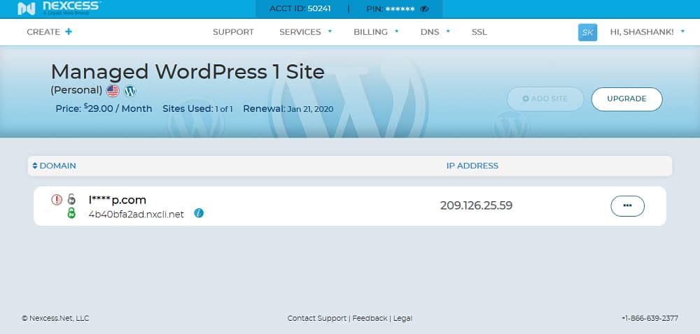 This is how the new interface of managed WordPress hosting looks like.