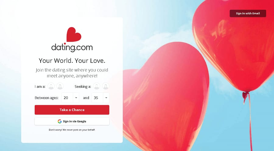 Dating.com Landing Page for Mainstream CPA Offer